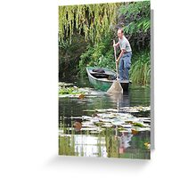 Cleaning Monet's Lily pond. Greeting Card