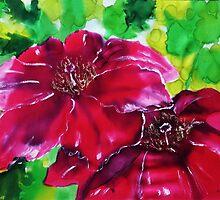 Poinsettia on silk by © Pauline Wherrell