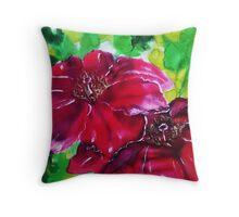 Poinsettia on silk Throw Pillow