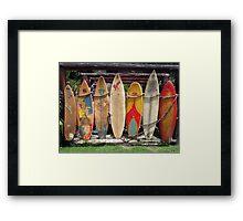 Surfboard Fence Framed Print