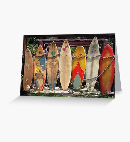 Surfboard Fence Greeting Card