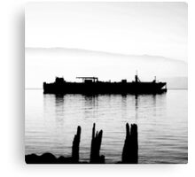 high contrast foggy bay barge Canvas Print