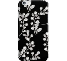 Pattern with graphical roses on black background iPhone Case/Skin