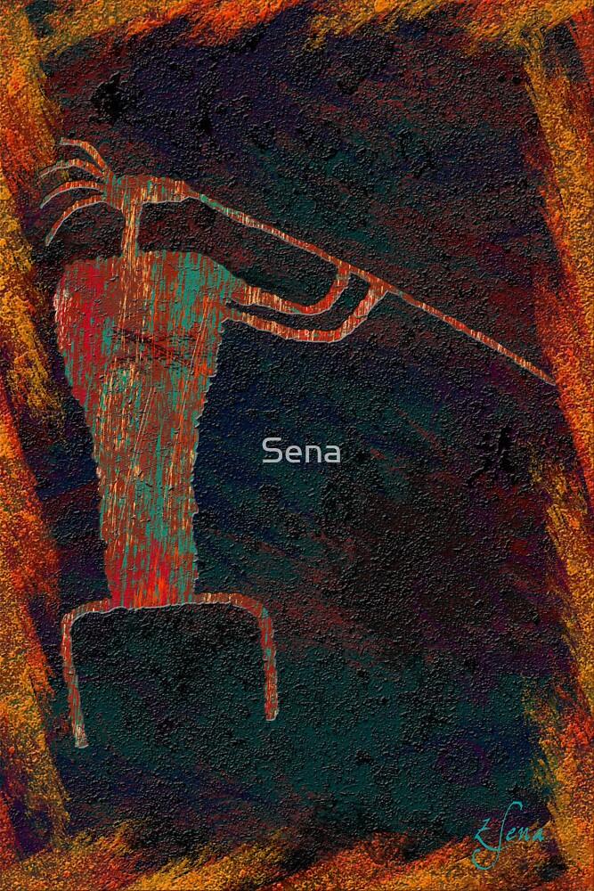 Rock Art - Flute Player by Sena