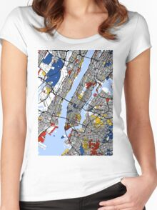 New York Mondrian map Women's Fitted Scoop T-Shirt