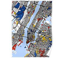 New York Mondrian map Poster