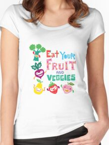Eat your Fruit and Veggies - beige Women's Fitted Scoop T-Shirt