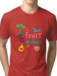 Eat your Fruit and Veggies - beige Tri-blend T-Shirt