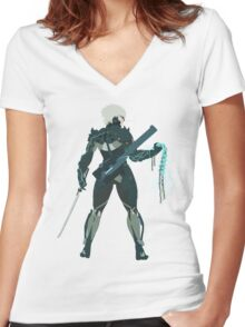 Raiden Vector Art - Metal Gear Solid/Rising Women's Fitted V-Neck T-Shirt