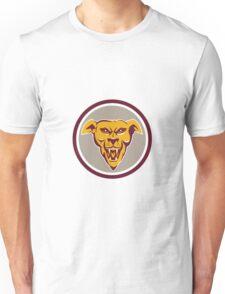 Angry Dog Wolf Head Circle Retro Unisex T-Shirt