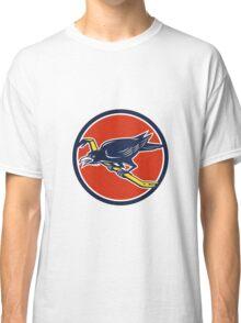 Crow Perching Crowbar Circle Retro Classic T-Shirt
