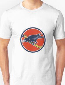 Crow Perching Crowbar Circle Retro T-Shirt