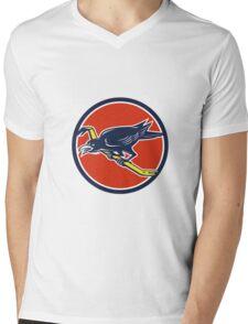 Crow Perching Crowbar Circle Retro Mens V-Neck T-Shirt