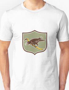 Crow Perching Crowbar Crest Retro T-Shirt