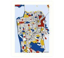 San Francisco Mondrian map Art Print