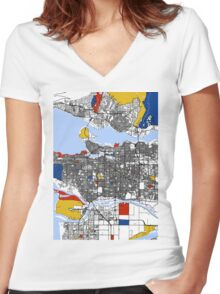Vancouver Mondrian map Women's Fitted V-Neck T-Shirt