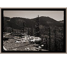 Abandoned Mine Structure And Ore Track Photographic Print