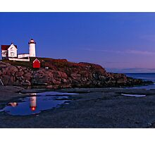 Nubble Lighthouse After Sunset- Cape Neddick, ME Photographic Print