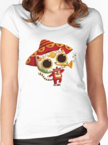 The Day of the Dead Cute Cat El Mariachi Women's Fitted Scoop T-Shirt