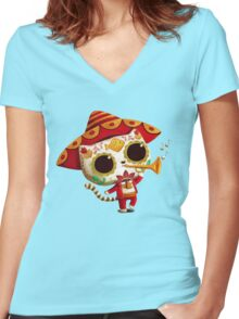The Day of the Dead Cute Cat El Mariachi Women's Fitted V-Neck T-Shirt