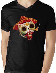 The Day of the Dead Cute Cat El Mariachi Mens V-Neck T-Shirt