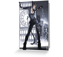 Cat Woman feels good tonight Greeting Card
