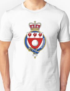 Coat of arms (family crest) for last-name or surname Hancock (England) . Heraldry banner for your name. T-Shirt