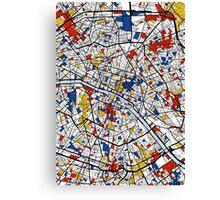 Paris Mondrian map Canvas Print