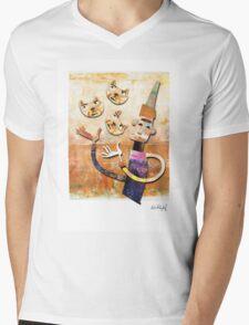 Cat Juggler Mens V-Neck T-Shirt