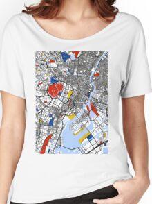 Tokyo Mondrian map Women's Relaxed Fit T-Shirt