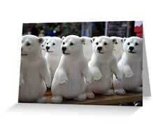 Cute Baby Polar Bears In A Shop. Greeting Card