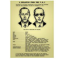 D B Cooper's FBI wanted poster Photographic Print