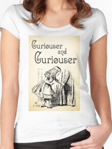 Alice in Wonderland Quote - Curiouser and & Curiouser quote - Through the Looking Glass - 0123 Women's Fitted Scoop T-Shirt