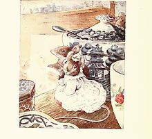 The Tailor of Gloucester Beatrix Potter 1903 0042 Mice in Fine Dress on the Table by wetdryvac