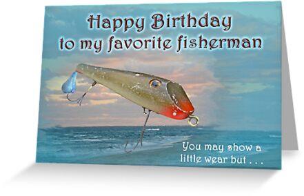 Fisherman Birthday Card - Fishmaster Vintage Fishing Lure by MotherNature
