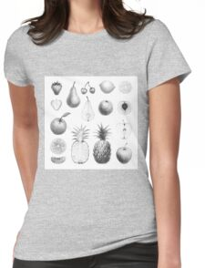 fresh fruits in black and white Womens Fitted T-Shirt