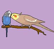 Pixel / 8-bit Parrot: Budgie and Cockatiel by Kadoodles