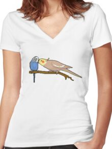 Pixel / 8-bit Parrot: Budgie and Cockatiel Women's Fitted V-Neck T-Shirt
