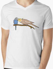 Pixel / 8-bit Parrot: Budgie and Cockatiel Mens V-Neck T-Shirt
