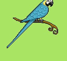 Pixel / 8-bit Parrot: Blue and Gold Macaw by Kadoodles