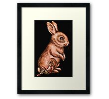 Cartoon Child with Bunny Rabbit Drawing Framed Print