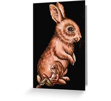 Cartoon Child with Bunny Rabbit Drawing Greeting Card