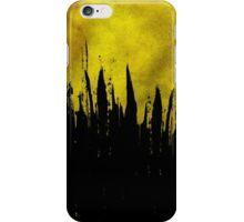 Yellow Paint Brushstroke Drips on Black iPhone Case/Skin