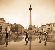 London. Trafalgar Square in the rain. by Alan Copson