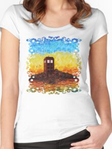 Time travel Phone booth in the Twilight zone art painting Women's Fitted Scoop T-Shirt