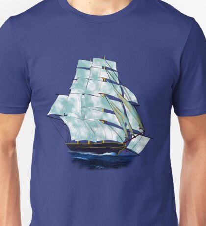 A Cloud of Sails on a Vintage Ship T-shirt, etc. design Unisex T-Shirt
