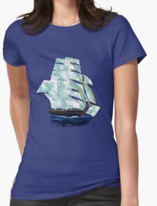 A Cloud of Sails on a Vintage Ship T-shirt, etc. design Womens Fitted T-Shirt