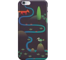 Landscape - Fox and Stream 2 (Pattern) iPhone Case/Skin