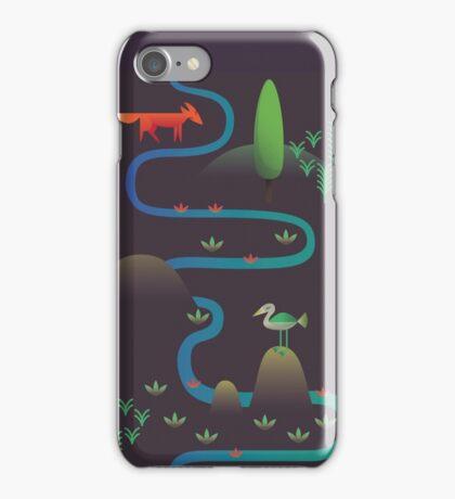 Landscape - Fox and Stream 2 (Pattern) iPhone Case/Skin