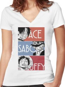 ASL - Ace Sabo Luffy - Brothers  Women's Fitted V-Neck T-Shirt